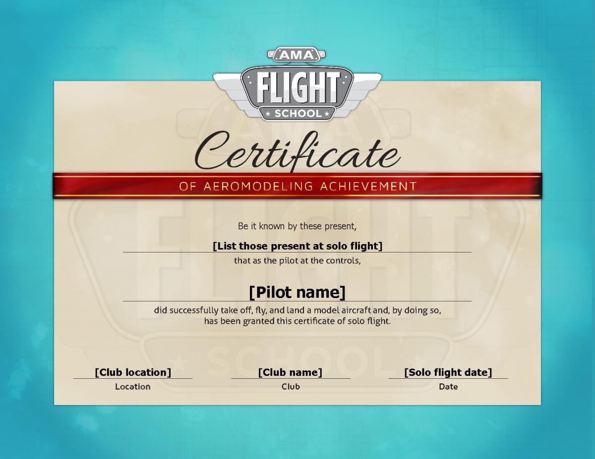 Solo Flight Certificate Ama Flight School
